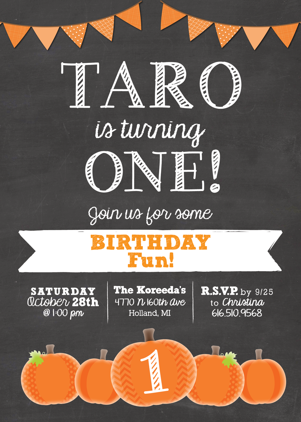 pumpkin chalkboard birthday invitation