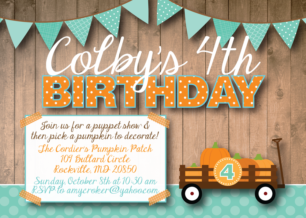 pumpkin patch birthday invitation