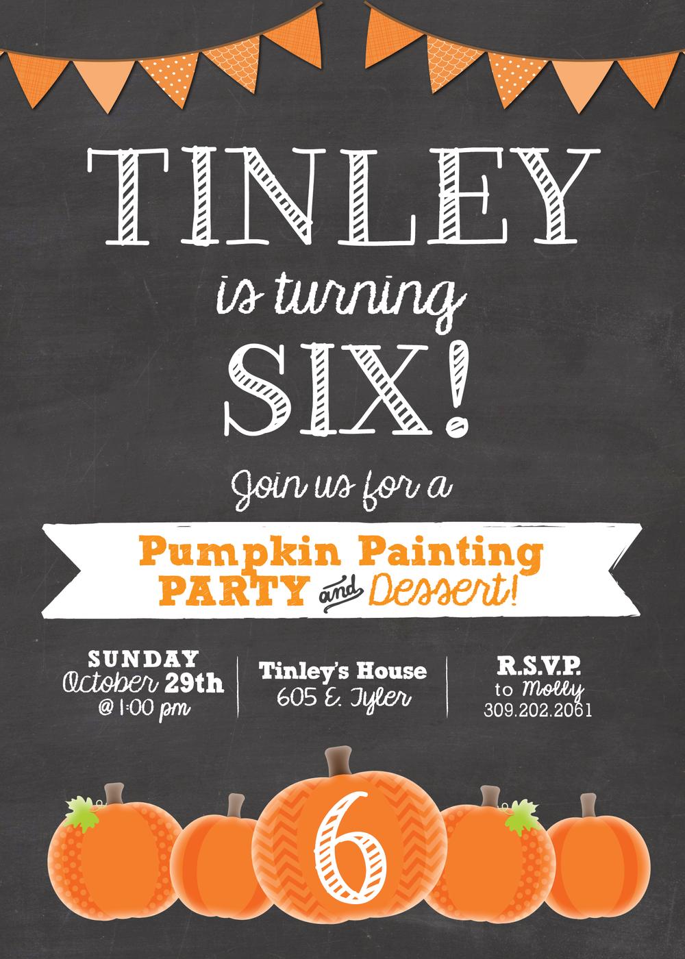 pumpkin painting birthday invitation