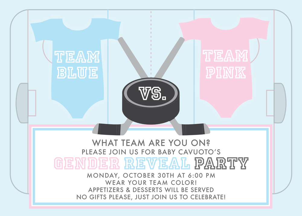 hockey gender reveal invitation