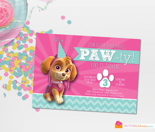 Skye paw patrol girl birthday party invitation skye paw patrol girl birthday party invitation filmwisefo