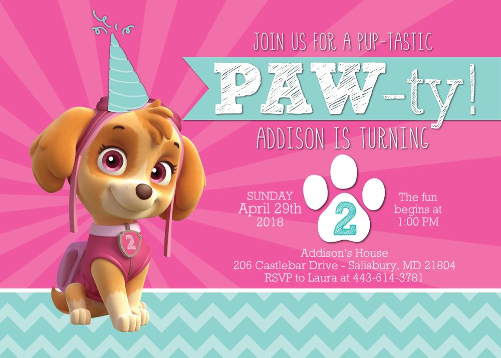 skye paw patrol invitation