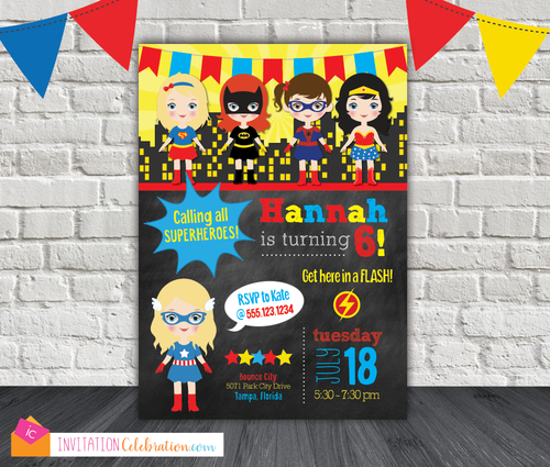 supergirl birthday girl superhero party invitation