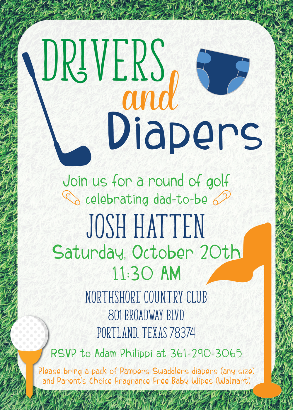 golf baby shower invitation