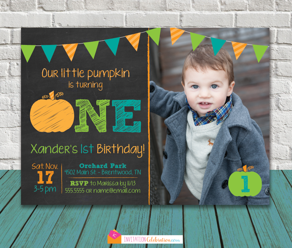 pumpkin one boy invitation