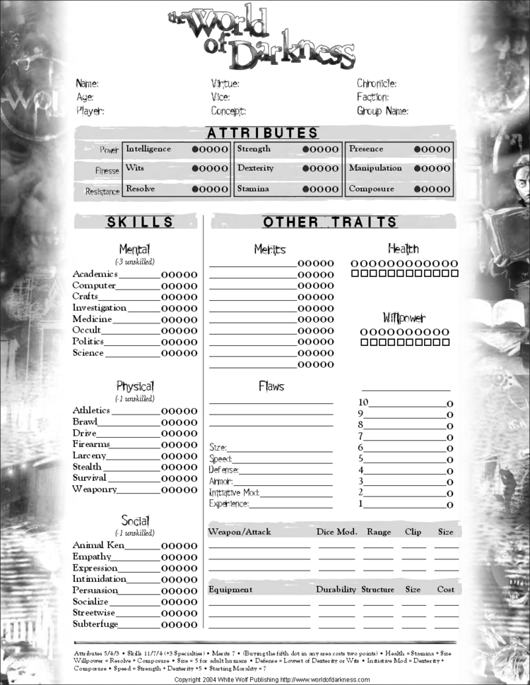 Feuille de personnages Wod_charSheet2page