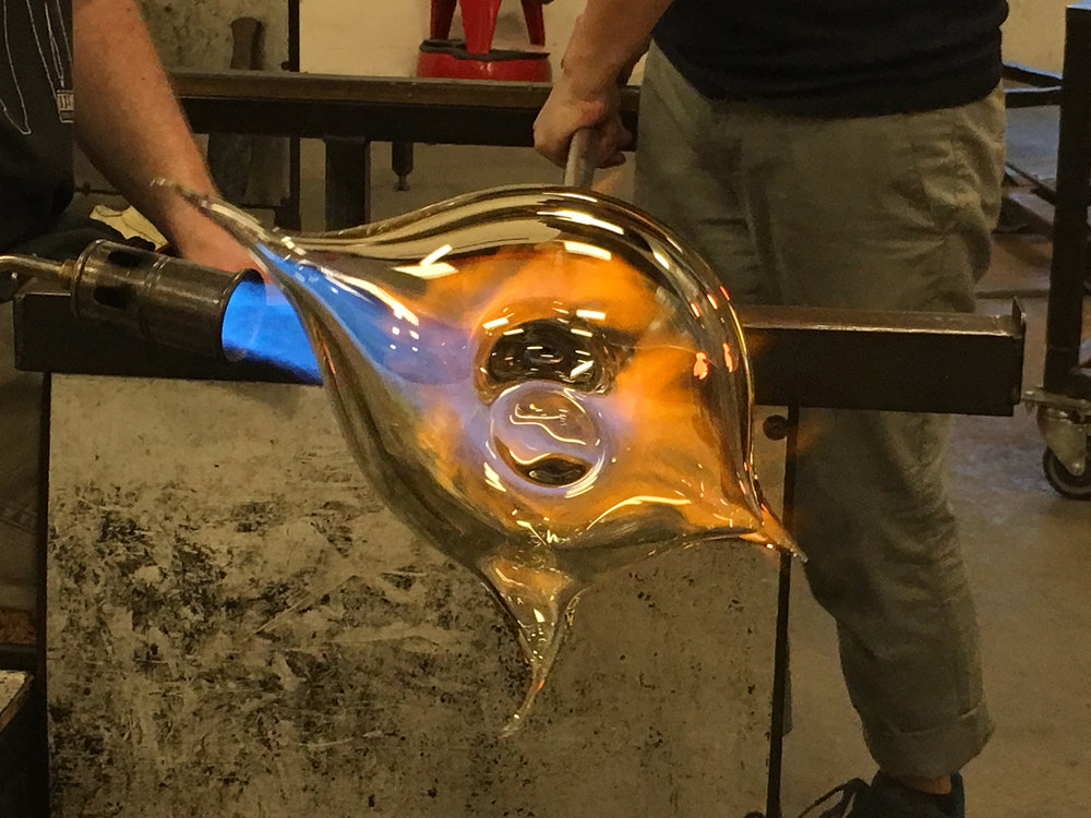 Michiko Sakano and her tram making the glass sculptures at Urban Glass in Brooklyn, NY.