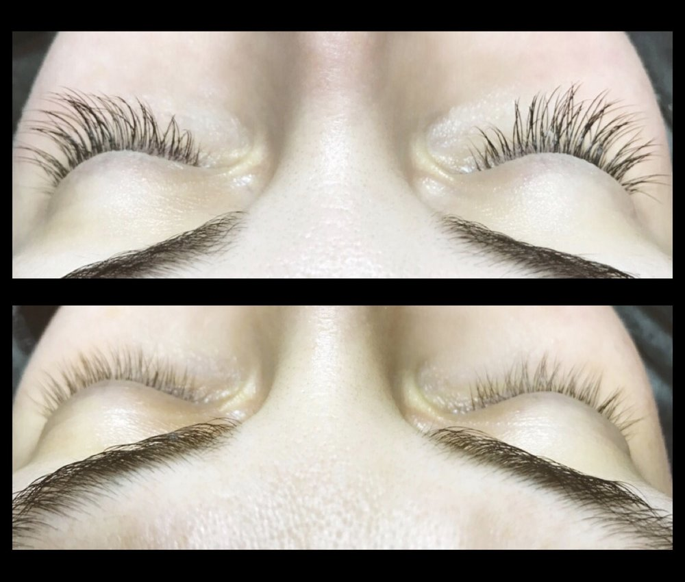 SIBERIAN MINK FUR SEMI-PERMANENT LASH EXTENSIONS BEFORE AND AFTER.