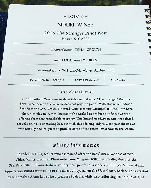 Sold! Willamette Valley Barrel Auction time. Awesome vintage 2015 wines being poured and auctioned today.