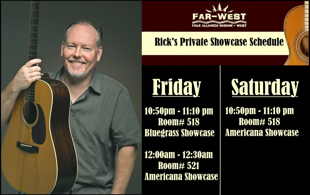 Rick's Showcase Schedule at the 2015 FAR-West Music Conference, Oakland CA