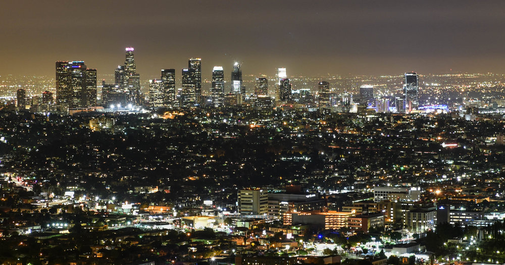 "The sea of lights. ""Downtown Los Angeles at night"" by Nemanja Pantelic is licensed under CC BY 2.0"
