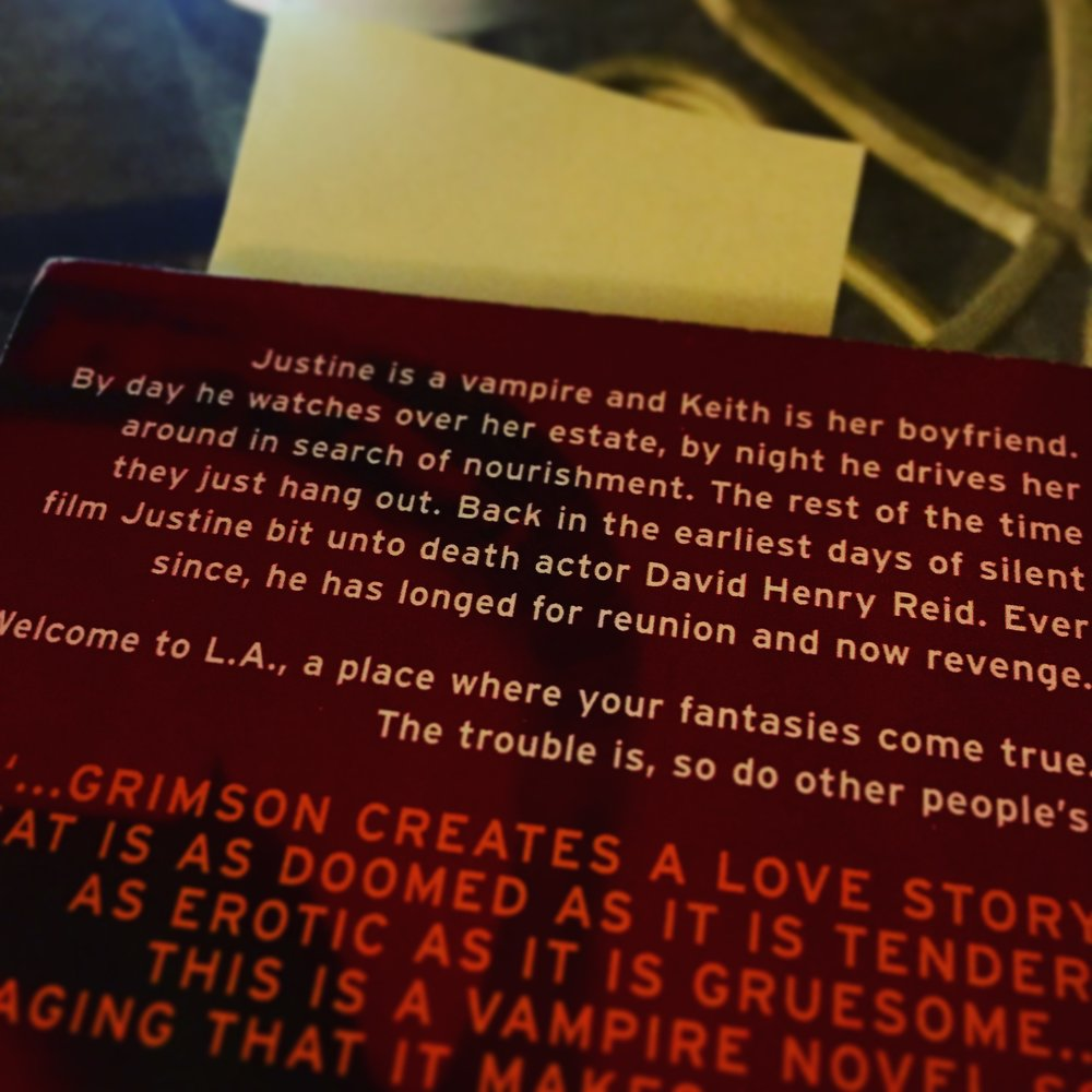"I love the simplicity and immediacy of this. ""Justine is a vampire and Keith is her boyfriend."""