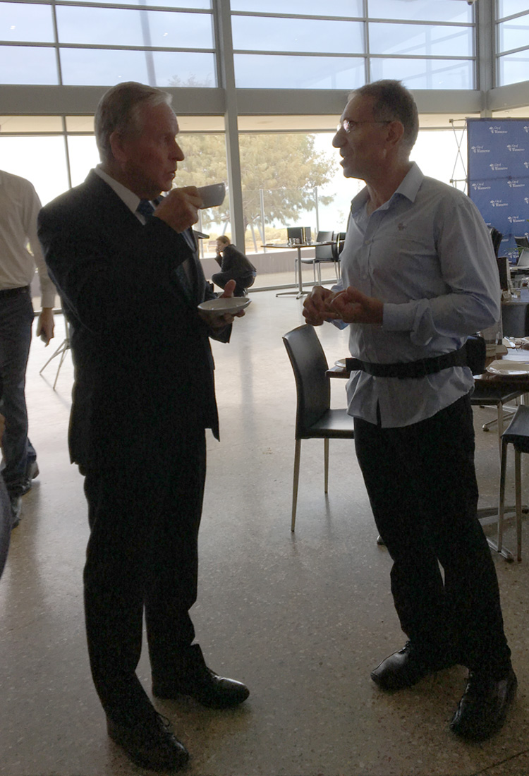 Edward Khoury of Global Marine Enclosures meets with the WA Premier Colin Barnett to discuss shark barriers.