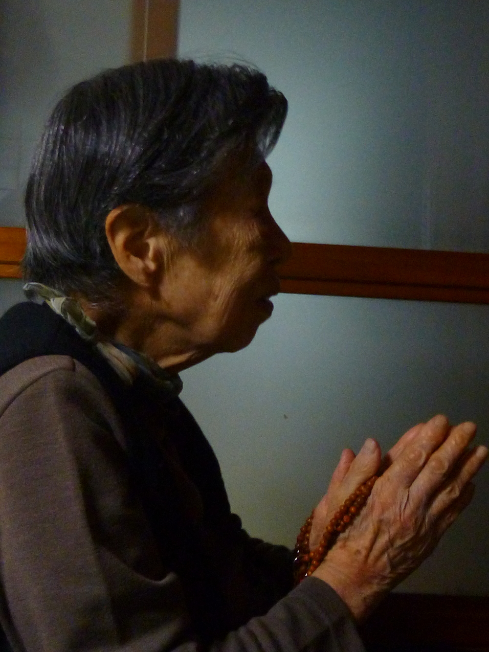 A woman prays at a home altar for her ancestors. At 90, she still makes offerings daily. (photo by Jason Danely)