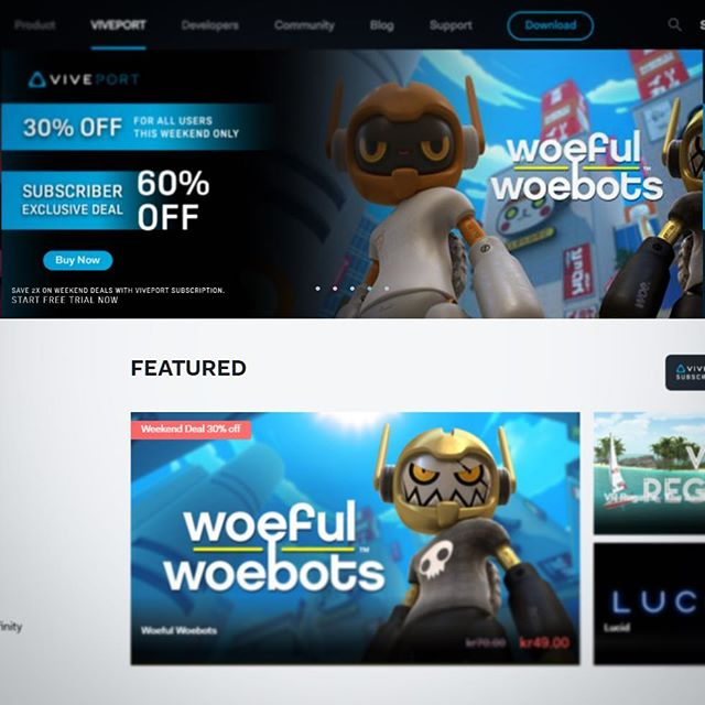 Woeful Woebots is featured on @viveport this Weekend with 30% off for non-subscribers and 60% for subscribers! ! Take out some evil robots right here: vprt.co/woeful  #VR - #indiegame - #vive - @htcvive