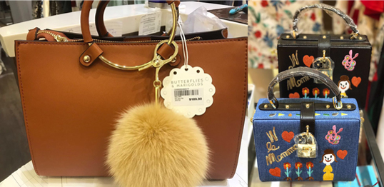 Savina also reminded us to style up our outfits using accessories. Here's our leather bag with fur ball and our cute box bags with embroidery details. Absolutely adorbs!!