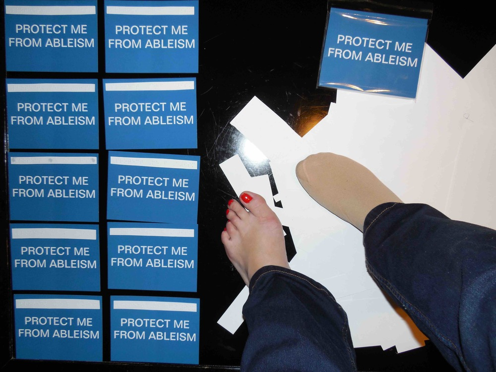 "Postcards in collaboration with the poet  John Lee Clark . ""Protect me from ableism."" AWP Seattle, 2014."