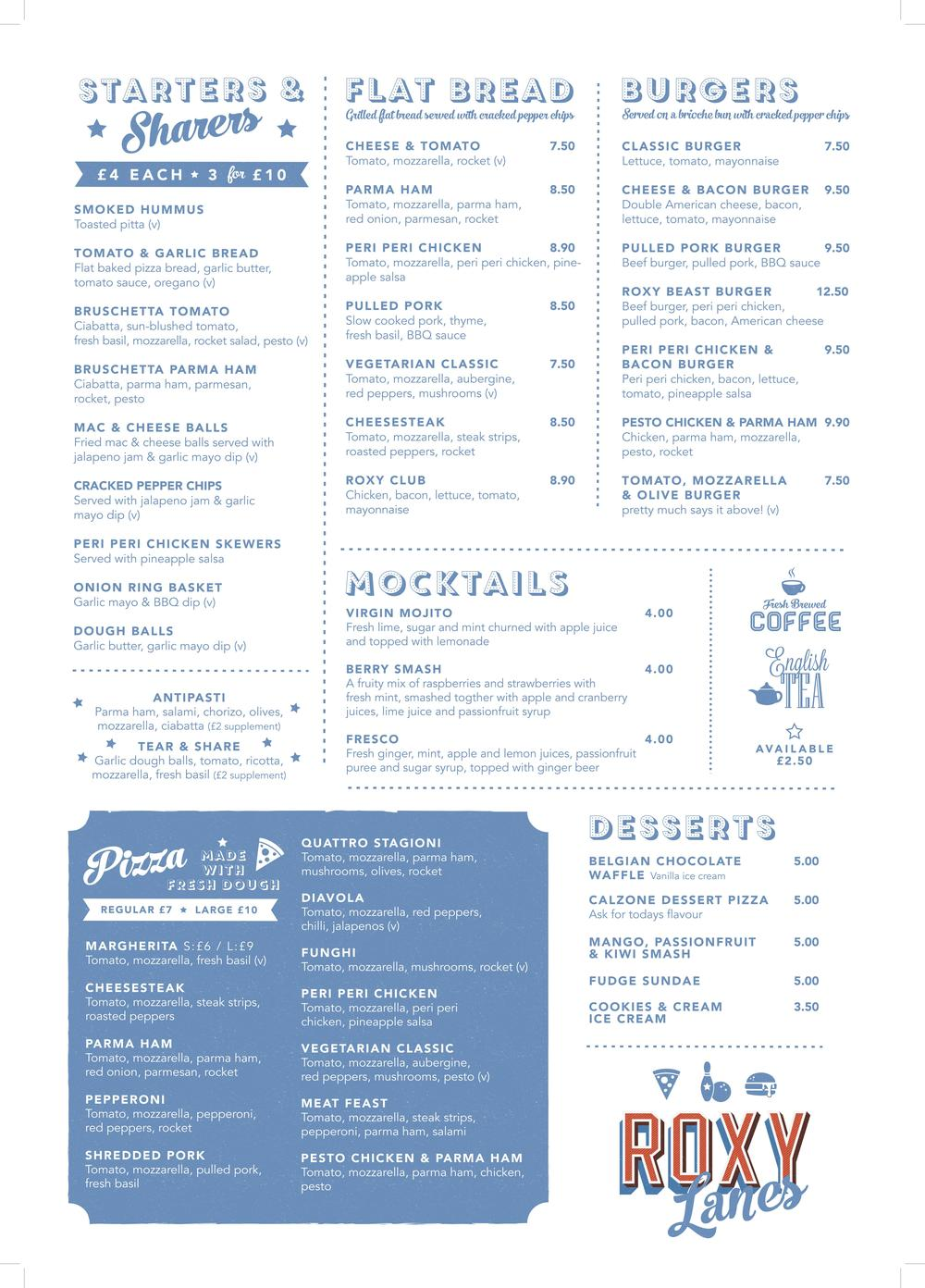 Roxy Lanes Food Menu