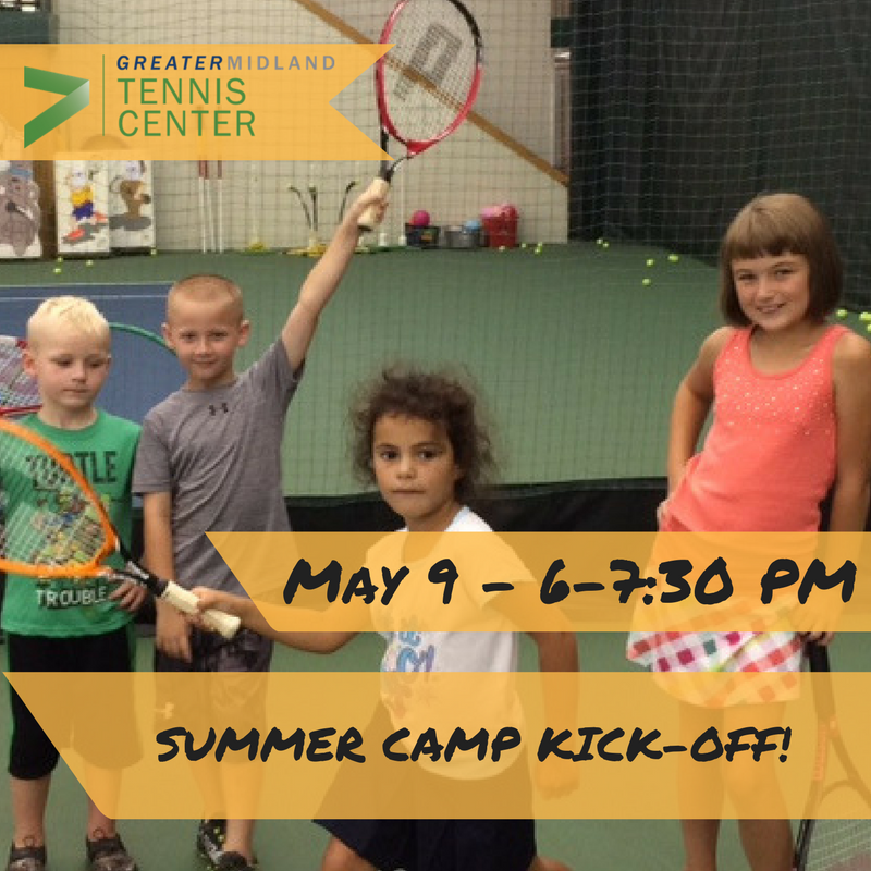 Summer Camp Kickoff - try out lots of fun camp activities.  Register for a full week of camp and save $10 on each week of Tennis Only camp and $20 on each week of All Day All Sports Camp.  To Sign Up Online  Click Here!   or call 989-631-6151  Summer Camp Information:   Click Here!