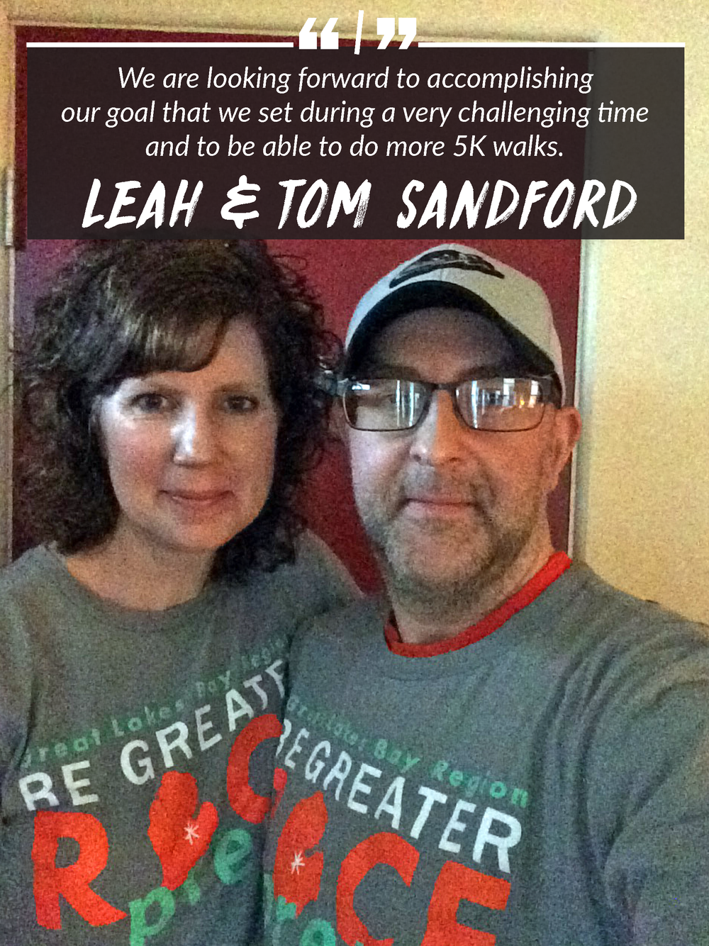 Leah and Tom Sandford are ready to race in the May 19 Dow RunWalk.