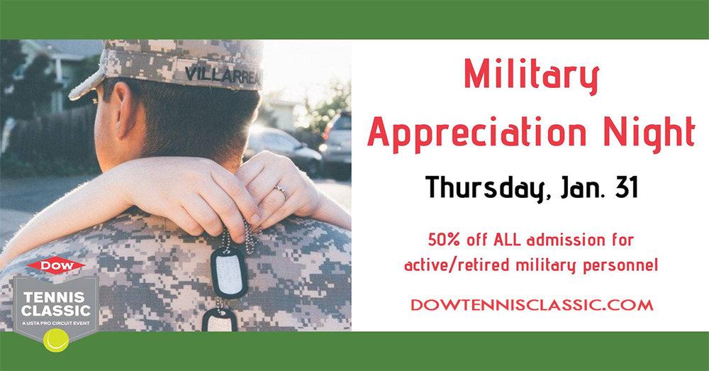 Dow Tennis Classic - Military Appreciation Night
