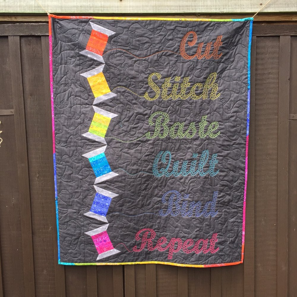 Rainbow Tumbling Spools Quilt by Jo Westfoot Quilt Now Issue 39
