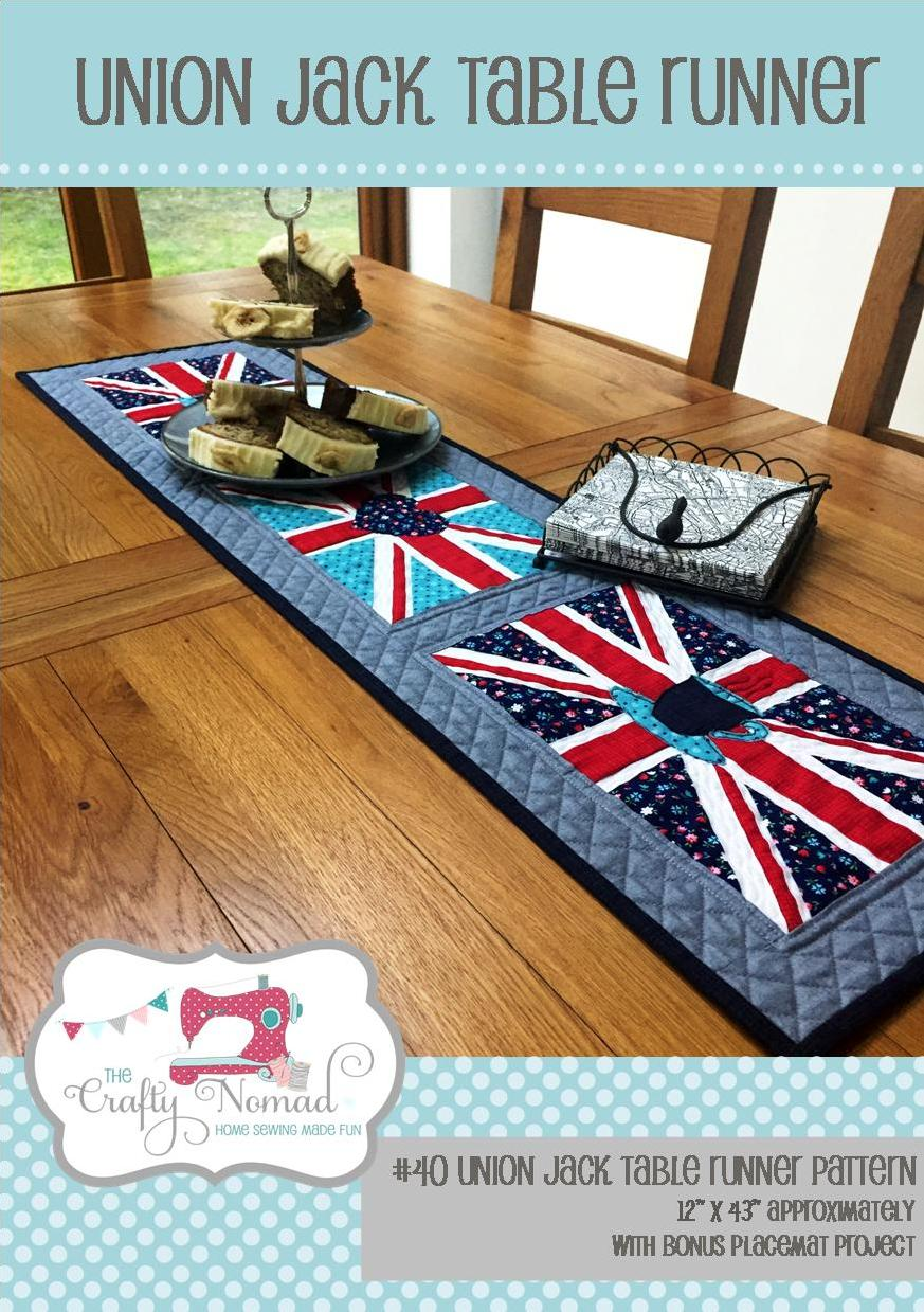 Union Jack Table Runner - Inspired by the royal wedding I have designed a fun Union Jack flag table runner, perfect for all those street parties. It's a mix of traditional piecing, foundation paper piecing and appliqué. So lots of skills to stretch your muscles!   The table runner will finish up at approximately 12 x 43 inches.  Make with the heart, tea cup and crown appliqué images, or without.  Up to you!  As an added bonus there is a place mat pattern included too!