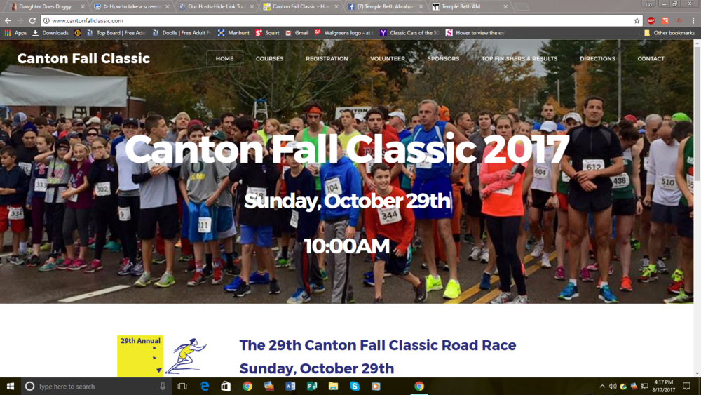 The 29th Canton Fall Classic Road Race Sunday, October 29th Sign up today... registration is now open. Learn about the 5K / 10K / 1 mile Kid's Fun Run & Senior Walk One of the best races in the South Shore!  REGISTER TODAY! DATE:10/29/17 LOCATION:1301 Washington Street, Canton TIMES: 1 Mile Senior Walk:9:00AM 1 Mile Fun Run: 9:45AM 5K and 10K road races will start simultaneously at 10:00AM REGISTRATION CLOSES AT 9:45AM Canton Fall Classic benefits Temple Beth Abraham and the Canton Food Pantry Temple Beth Abraham and Canton Food Pantry are 501c3 charities