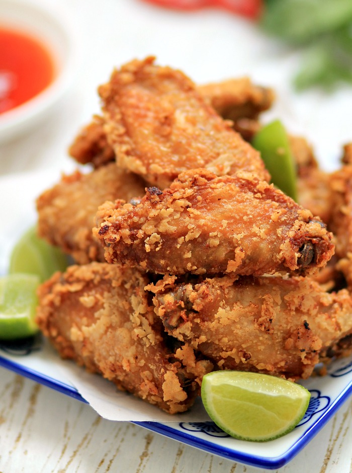 Deep Fried Chicken Wings in a sweet and chilli vineagrette