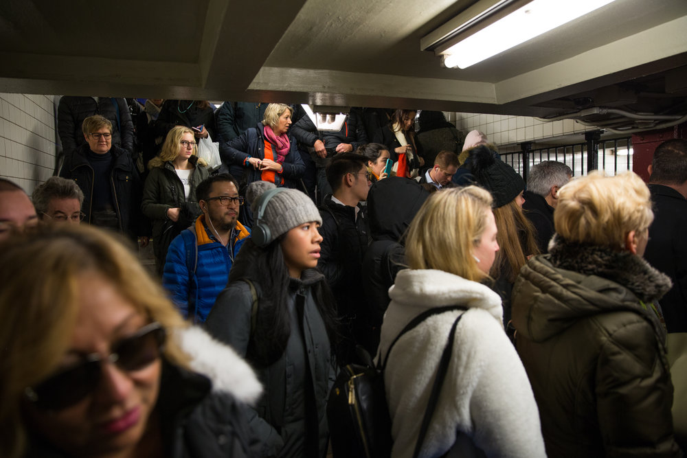 A crowded commute at Court Square. Photographed for a series on new construction related to the L train shutdown.