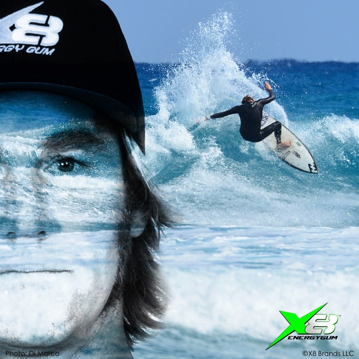 """Peter Mendia World Class PRO- Surfer """"When I first heard of X8 Energy Gum, I was skeptical. Traveling around the world chasing waves, I am always pushing myself to the limits. 22 hours on a plane, and then a full day of surfing. I have had other energy drinks and energy products, but they fill me up, take a while to kick-in, and you always have to deal with the crash. When I tried X8, I immediately felt more energized, sharper, and had a lot more energy for longer. The gum tastes great, no jitters, and no spikes. Just Epic!"""""""