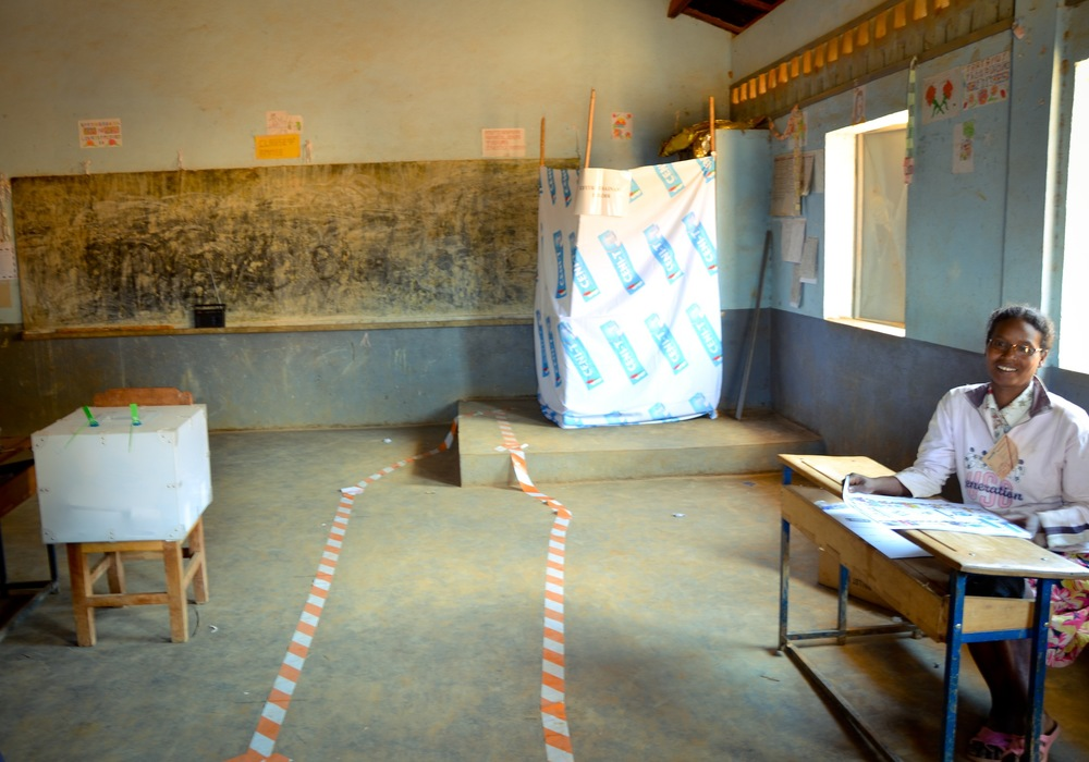 Voting booth set up in village schoolhouse. Photo: Alizé Carrère