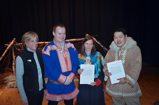 From left to right: Dr. Nancy Maynard (Polar Regions Chapter Lead Author), Dr. Anders Oskal (Polar Regions Chapter Co-Author), Aile Javo (President of Saami Council), and Dr. Mikhail Pogodaev (Executive Chair of Assoc. of World Reindeer Herders). Photo: Alizé Carrère