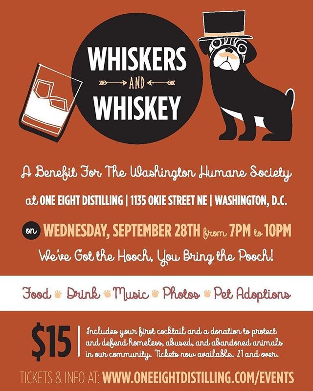 The truck may be down, but don't let that stop you from joining us tonight! We're back at @oneeightd for #whiskersandwiskey with our friends @masondixiedc to support the @wash_humane society. It's not to late to get your ticket! Link up top ☝🏽️