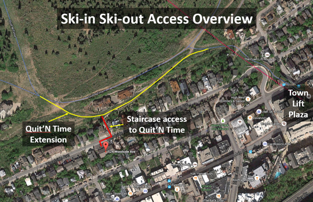 Ski-in ski-out access via quit'n time and town lift plaza