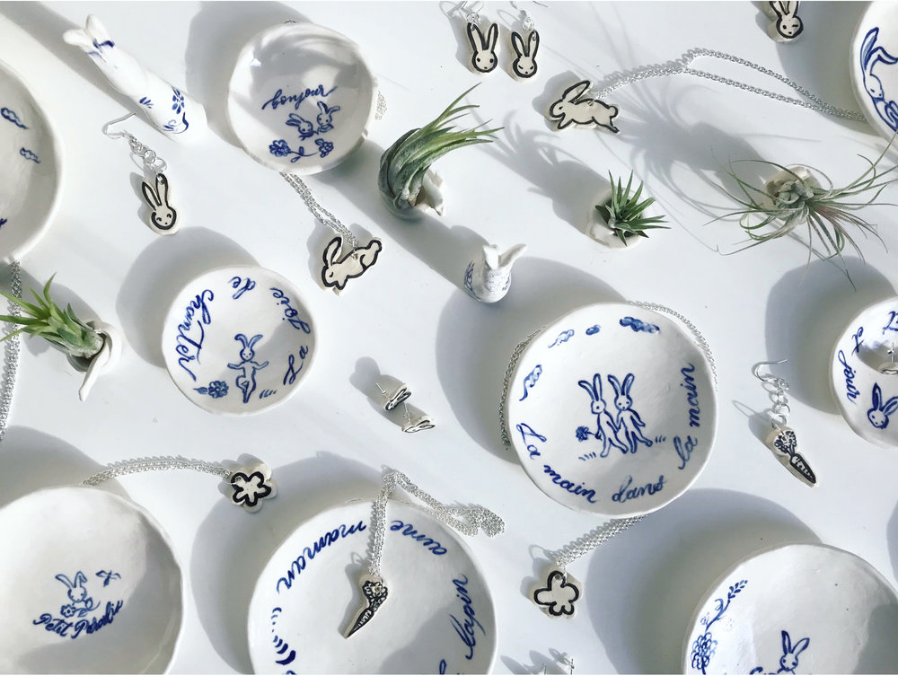 Bunny dishes and accessories made exclusively for Maman NYC.