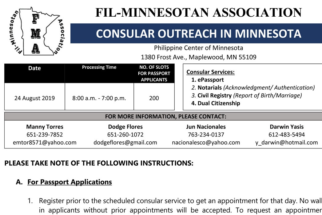 Philippine Consular Services 2019 — Fil-Minnesotan Association