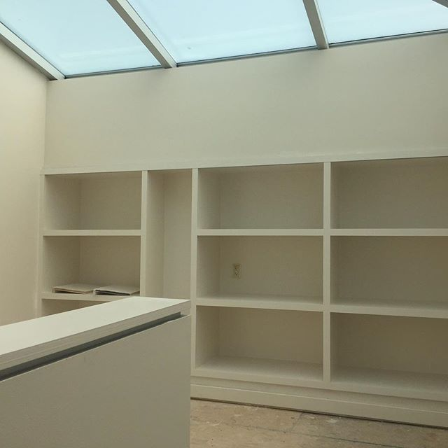 Ok, it's a picture of empty bookshelves, but really what it is is an invitation to imagine your books here! This is the loft bit of our work/live lofts! Reach out to us if you are interested in taking a tour of our Oakland project! #createhere #makermovement #bayarea #eastbay #maker #makers #makerlife #makermade #studiospace #collaboration #worklive #creativelife #femaleentrepreneurs  #oakland #culture