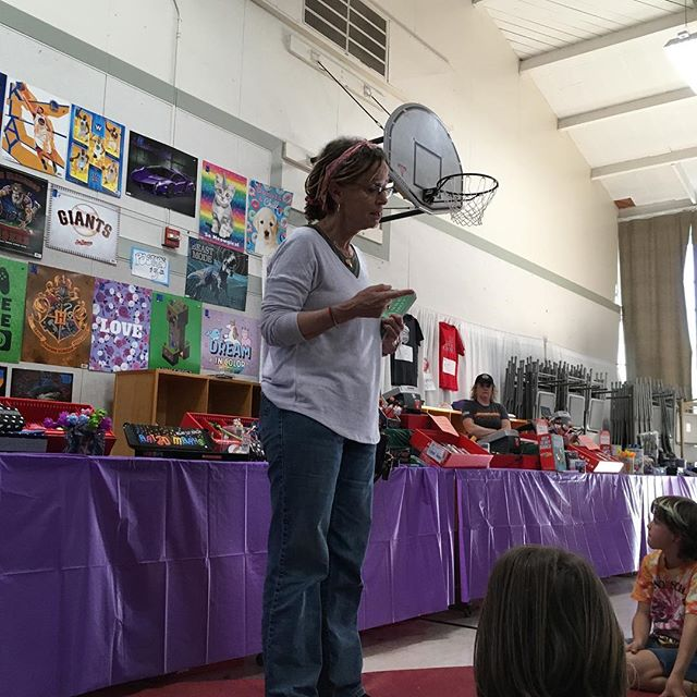 When @annelamott gives a talk at your local school's book fair and your daughter tells her she wants to write about rainbow unicorns and she's encouraged to do so! Such an inspirational talk on keeping your butt in the chair and going bird by bird! And yes they still have that very same assignment for my fourth grader! #annelamott #inspiration #writingfromtheheart #wordstoliveby
