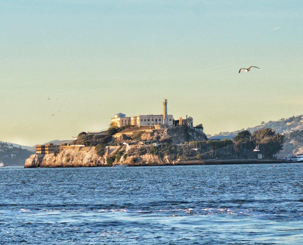 Alcatraz Island from across San Francisco Bay.