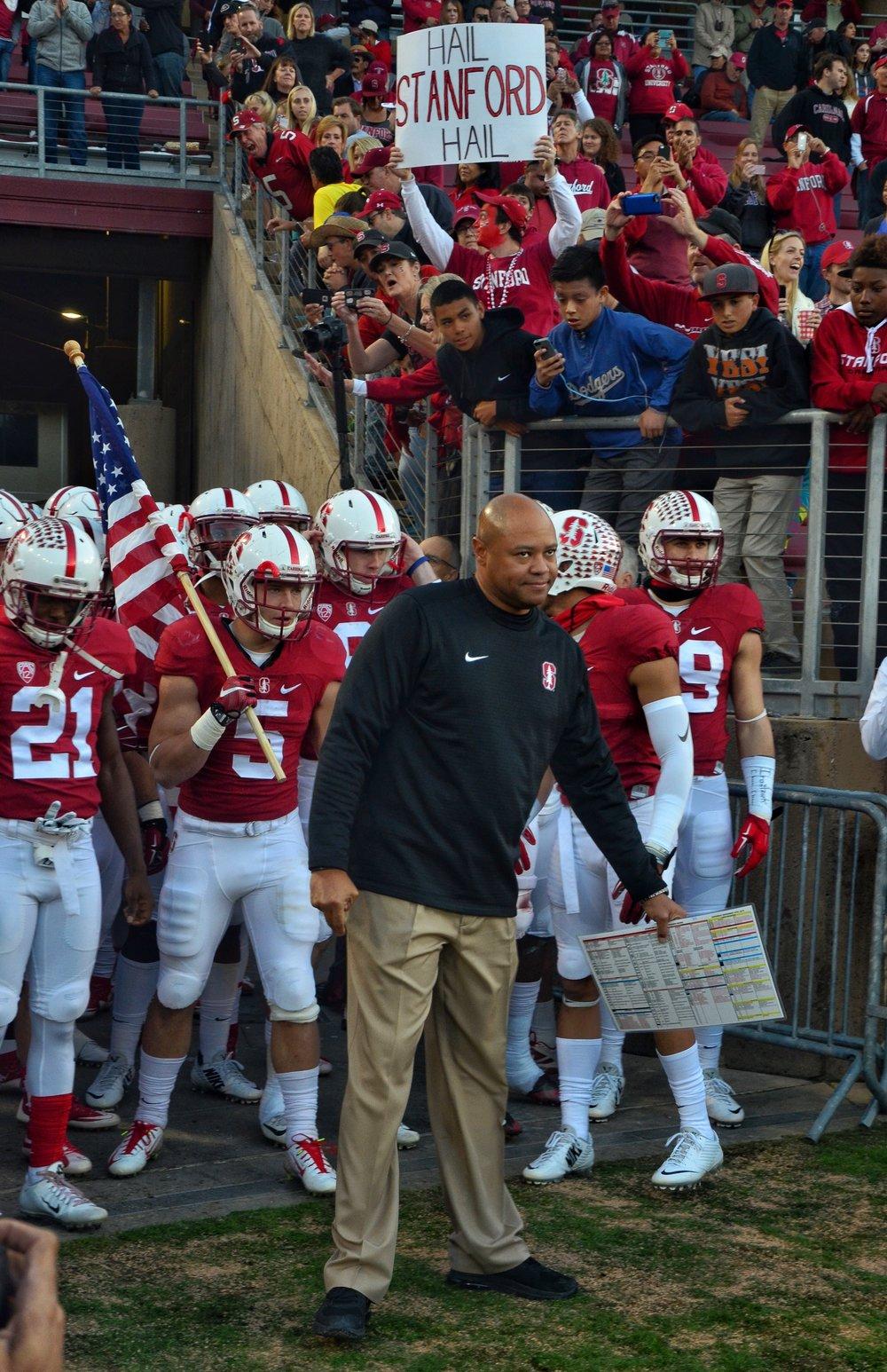 Coach Shaw ready to lead his team out on the field looking like he was ready to hit someone.