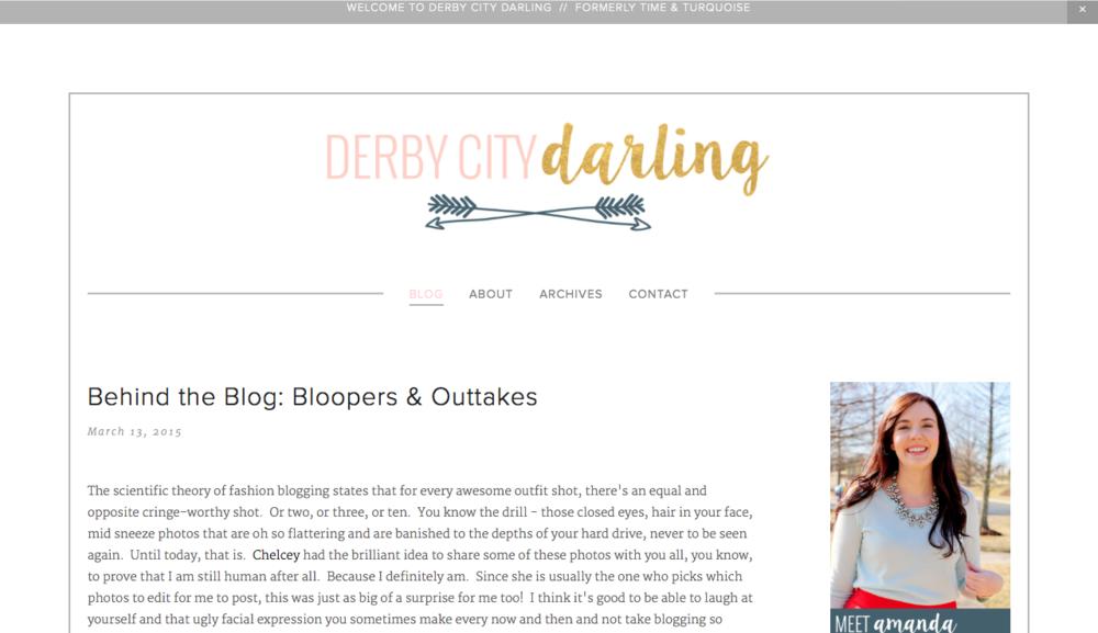 Derby City Darling blog design