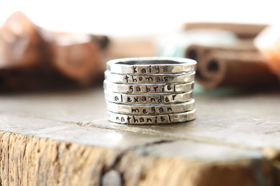 Personalized Stackable Rings - cinnamonsticks