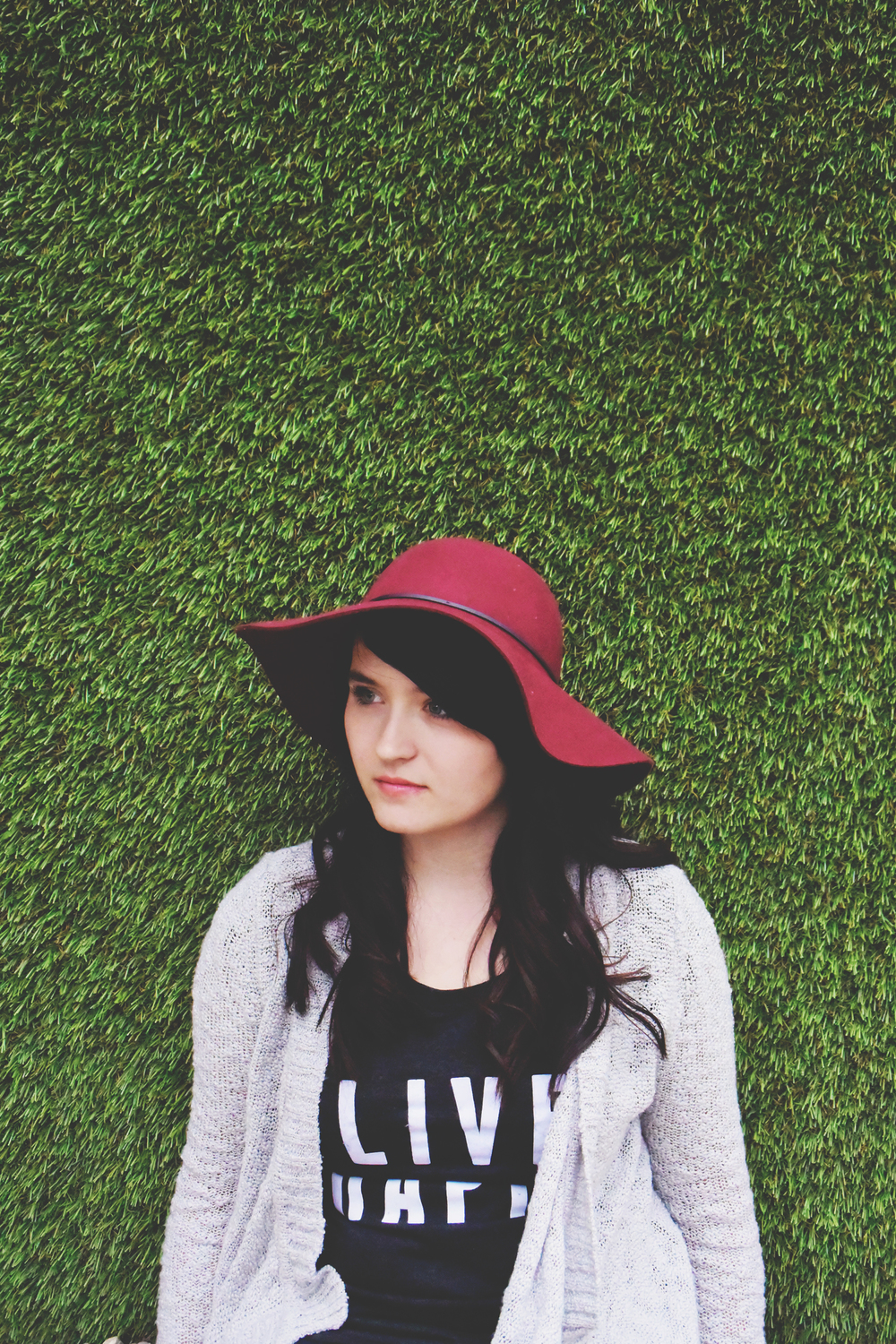 Wine colored hat from chelceytate.com