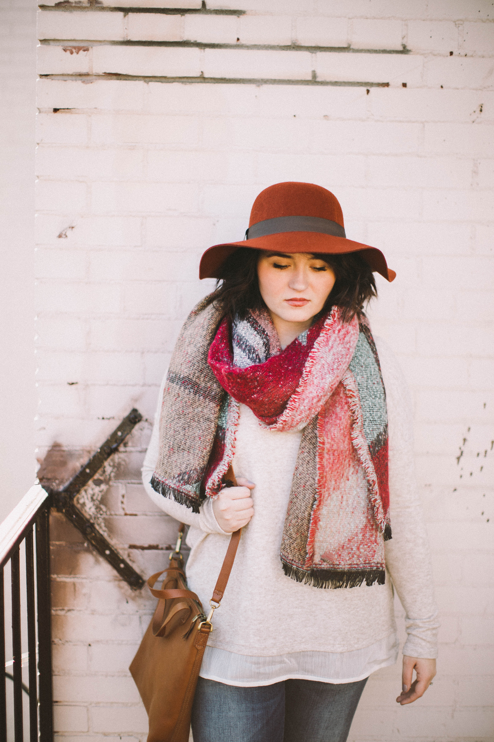 Blanket Scarves + Floppy Hats via www.chelceytate.com
