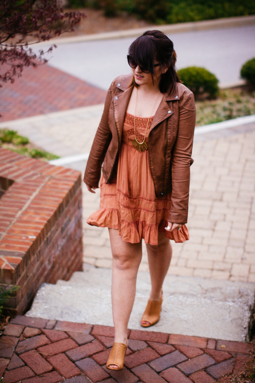 Spring Style Leather Jacket + Sundress www.chelceytate.com