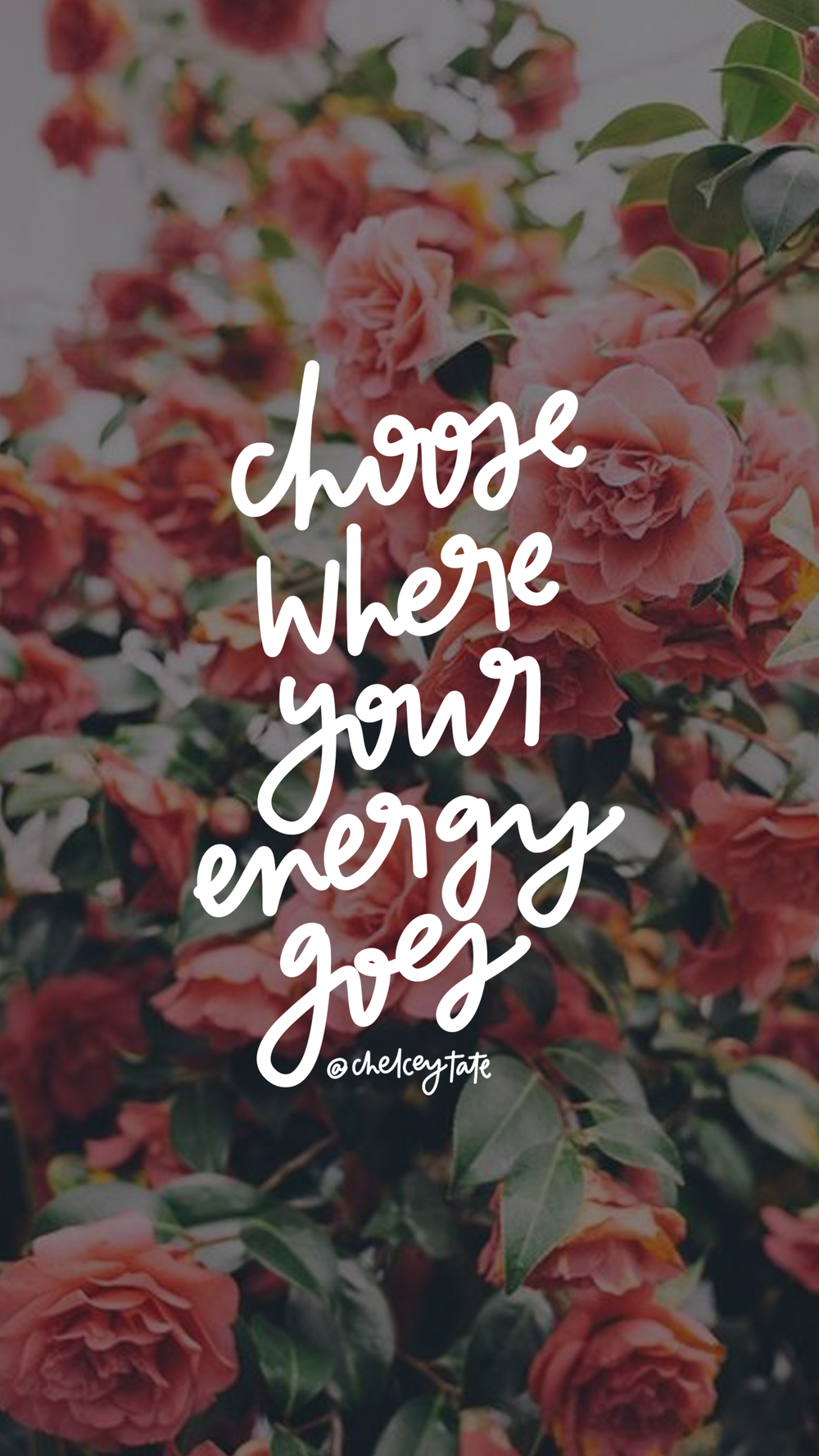 Choose Where Your Energy Goes hand lettered artwork via artist Chelcey Tate