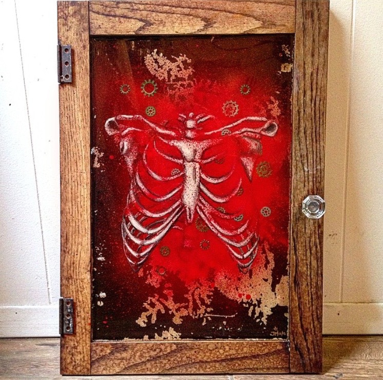 Cabinet door, acrylic, aerosol and resin