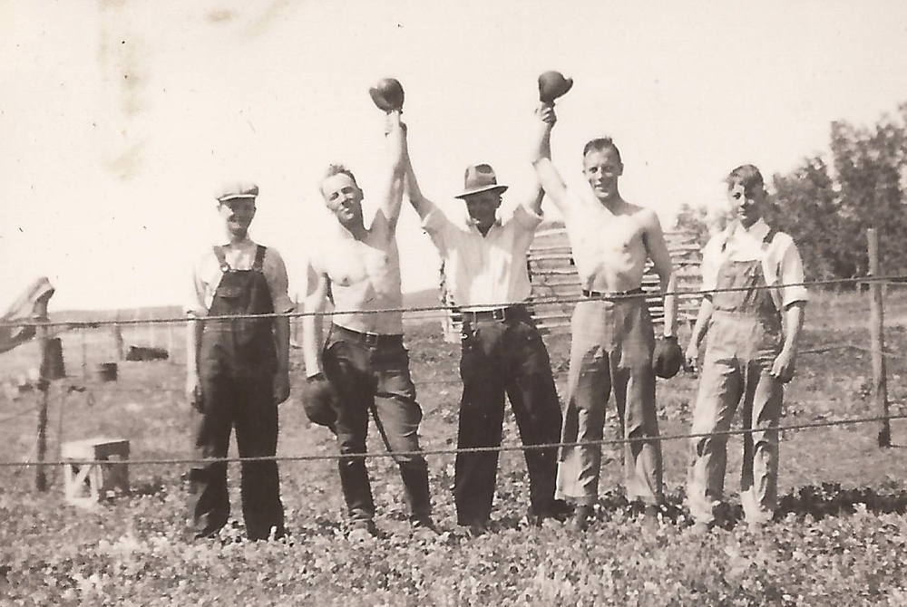 My grandpa's friends making their own fun in the 1930/1940s.