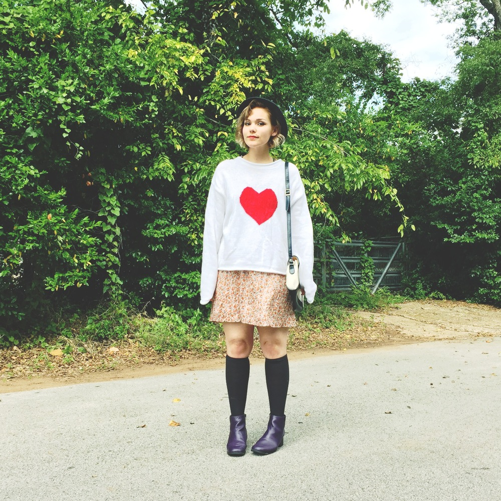 This is me frolicking in our new Heart Pullover, literally pulled-over our Floral Racerback Dress